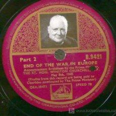 Discos de pizarra: WINSTON CHURCHILL. END OF THE WAR IN EUROPE. MAY 8TH. 1945. DISCO DE PIEDRA.. Lote 11567463