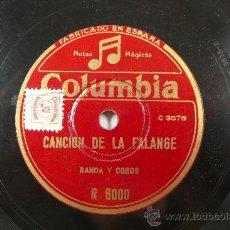 Discos de pizarra: CANCIÓN DE LA FALANGE. BANDA Y COROS LADO 1 Y BANDA LADO 2.. Lote 161752473