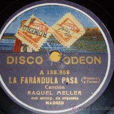 Discos de pizarra: DISCO 78 RPM - ODEON - RAQUEL MELLER - COUPLET - A HIERRO MUERE - PIZARRA. Lote 9011500
