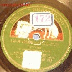 Discos de pizarra: ANTIGUO DISCO DE GRAMÓFONO DE LA VOZ DE SU AMO - LOS DE ARAGÓN - POR TINO FOLGAR, AÑOS 30.. Lote 1461192