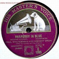 Discos de pizarra: PAUL WHITEMAN (RHAPSODY IN BLUE) HMV. Lote 1594815