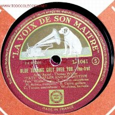 Discos de pizarra: FATS WALLER AND HIS RHYTHM ( BLUE TURNING GREY OVER YOU - HONEY SUCKLE ROSE) LA VOIX DE SON MAITRE. Lote 1595186