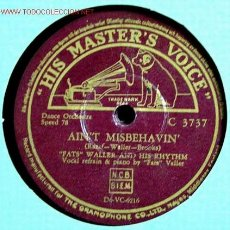 Discos de pizarra: FATS WALLER AND HIS RHYTHM (MOPPIN' AND BOPPIN' - AIN'T MISBEHAVIN') 78RPM. Lote 1595265