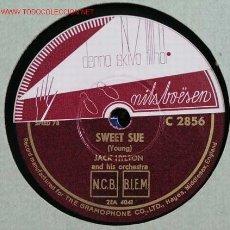 Discos de pizarra: JACK HYLTON & HIS ORCHESTRA ( SWEET SUE - GRINZING ) 78RPM. Lote 1595487