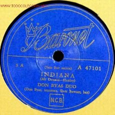 Discos de pizarra: DON BYAS DUO ( INDIANA ) CHARLIE VENTURAS TRIO ( BODY AND SOUL ) 78RPM. Lote 1595683