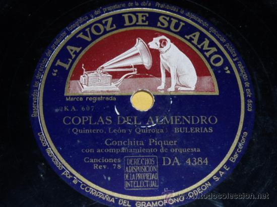 DISCO 78 RPM - CONCHITA PIQUER Y ORQUESTA - LA VOZ DE SU AMO - DISCO DE PIZARRA (Música - Discos - Pizarra - Flamenco, Canción española y Cuplé)