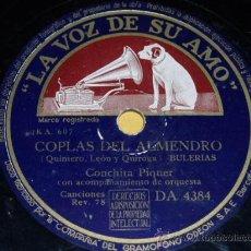 Discos de pizarra: DISCO 78 RPM - CONCHITA PIQUER Y ORQUESTA - LA VOZ DE SU AMO - DISCO DE PIZARRA. Lote 9959012
