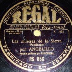 Discos de pizarra: DISCO 78 RPM - ANGELILLO CON LA GUITARRA DE HABICHUELA - FLAMENCO - REGAL - DISCO DE PIZARRA. Lote 9960536