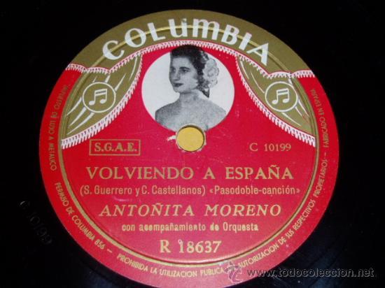 DISCO 78 RPM - ANTOÑITA MORENO - ORQUESTA - COLUMBIA FOTO - GUITARRAS - CARNAVALITO - PIZARRA (Música - Discos - Pizarra - Flamenco, Canción española y Cuplé)