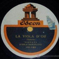 Discos de pizarra: DISCO 78 RPM - COBLA BARCELONA - ODEON ACÚSTICO - SARDANAS - PIZARRA. Lote 9984245