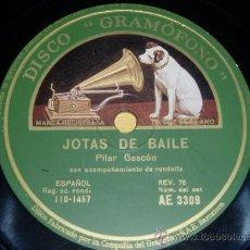 Discos de pizarra: DISCO 78 RPM - PILAR GASCÓN / JUSTO ROYO - JOTAS - GRAMÓFONO - PIZARRA. Lote 9984969