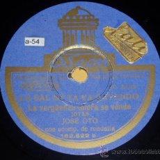 Discos de pizarra: DISCO 78 RPM - JOSÉ OTO - JOTAS - ODEON - PIZARRA. Lote 9985015