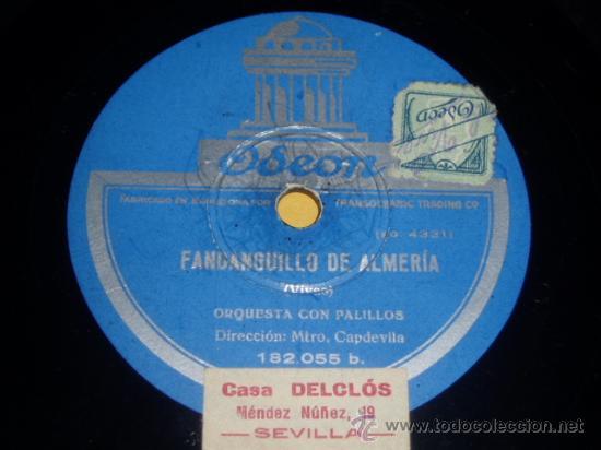 DISCO 78 RPM - ORQUESTA CON PALILLOS - ODEON - FANDANGUILLO DE ALMERÍA (GASPAR VIVAS) - PIZARRA (Música - Discos - Pizarra - Flamenco, Canción española y Cuplé)