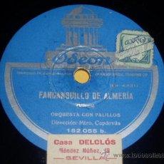 DISCO 78 RPM - ORQUESTA CON PALILLOS - ODEON - FANDANGUILLO DE ALMERÍA (GASPAR VIVAS) - PIZARRA