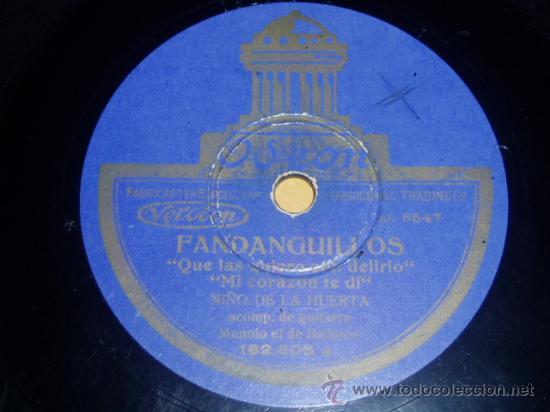 DISCO 78 RPM - NIÑO DE LA HUERTA - MANOLO DE BADAJOZ - GUITARRA - ODEON - FLAMENCO - PIZARRA (Música - Discos - Pizarra - Flamenco, Canción española y Cuplé)