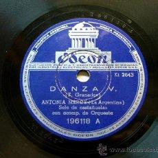 Discos de pizarra: ANTONIA MERCE (LA ARGENTINA) ARG ODEON 196118 78RPM DANZ V./SEGUIDILLAS. Lote 10052490