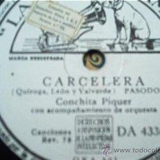 Discos de pizarra: CONCHITA PIQUER. CARCELETA + EUGENIA DE MONTIJO. Lote 10304278