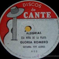 Discos de pizarra: DISCO 78 RPM - GLORIA ROMERO - PEPE ALONSO - GUITARRA - FLAMENCO - PIZARRA. Lote 10689345