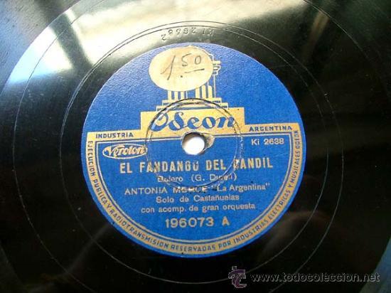 ANTONIA MERCE ARG ODEON 196073 78RPM EL FANDANGO DEL CANDIL/TANGO ANDALUZ (Música - Discos - Pizarra - Flamenco, Canción española y Cuplé)