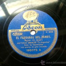 Discos de pizarra: ANTONIA MERCE ARG ODEON 196073 78RPM EL FANDANGO DEL CANDIL/TANGO ANDALUZ. Lote 195276137
