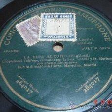 Discos de pizarra: DISCO PIZARRA GRAMOPHONE LA VIDA ALEGRE (FOGLIETTI) NC:264017 + CARATULA GRAMOFONO. Lote 25355847