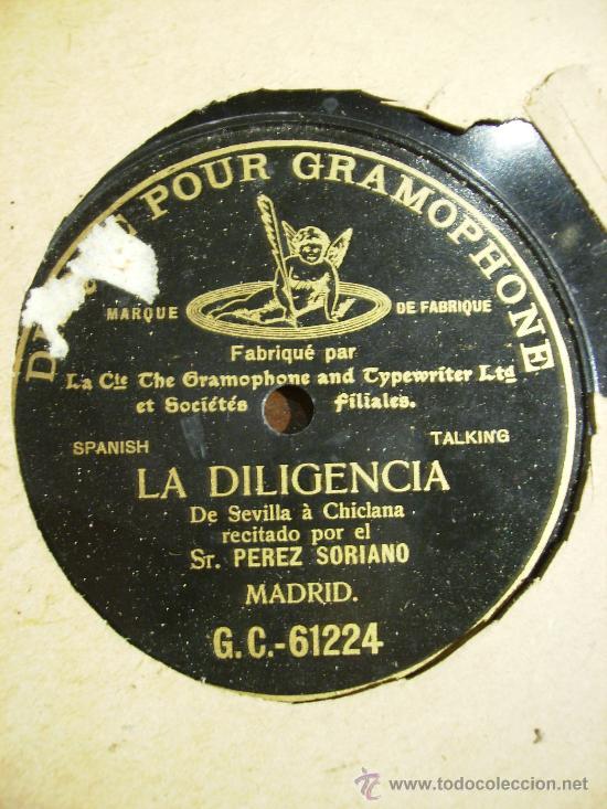 LA DILIGENCIA. DE SEVILLA A CHICLANA, UNA CARA (Música - Discos - Pizarra - Flamenco, Canción española y Cuplé)