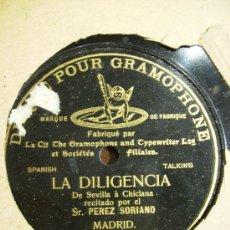 Discos de pizarra: LA DILIGENCIA. DE SEVILLA A CHICLANA, UNA CARA. Lote 26660000