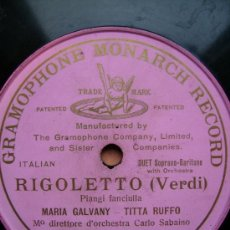 Discos de pizarra: RIGOLETTO DE VERDI, UNA CARA MARIA GALVANY TITTA RUFFO. Lote 26660013