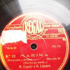Discos de pizarra: MARINA, DOS CARAS YO PARTO... Y DICHOSO AQUEL. Lote 26674800