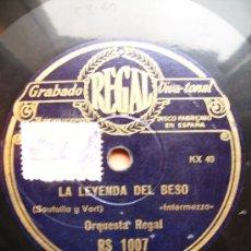 Discos de pizarra: A LAS TRES DE LA MAÑANA, Y LA LEYENDA DEL BESO, VALS. Lote 26660017