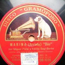 Discos de pizarra: MARINA. DUO, Y BRINDIS DOS CARAS. Lote 26674803
