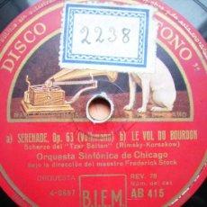 Discos de pizarra: ORQUESTA SINFONICA DE CHICAGO. VALSE TRISTE. SERENADE. LE VOL DU BOURDON. Lote 26674808