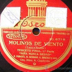 Discos de pizarra: MOLINOS DE VIENTO, NIÑA NUNCA BEBAS Y MOLINOS DE VIENTO VEN MARGOT VEN AMOR DE MIS SUEÑOS. Lote 26787199