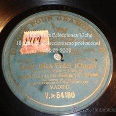 Discos de pizarra: DISCO GRAMOFONO ORIGINAL LAS BRAVIAS (CHAPI), MUY ANTIGUO, GRABADO POR UNA CARA, MONOFACIAL.. Lote 13122778