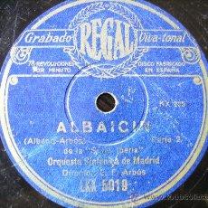 Discos de pizarra: ALBAICIN, POR LAS DOS CARAS, POR LA ORQUESTA SINFONICA DE MADRID. Lote 27125371