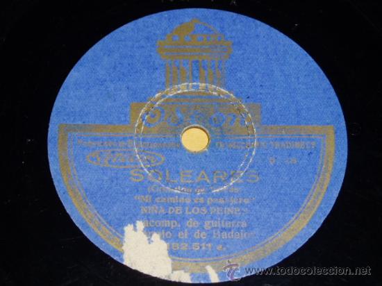 DISCO 78 RPM - LA NIÑA DE LOS PEINES Y MANOLO DE BADAJOZ (GUITARRA) - ODEON - PIZARRA FLAMENCO (Música - Discos - Pizarra - Flamenco, Canción española y Cuplé)