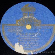 Shellac Records - DISCO 78 RPM - LA NIÑA DE LOS PEINES Y MANOLO DE BADAJOZ (GUITARRA) - ODEON - PIZARRA FLAMENCO - 12365245