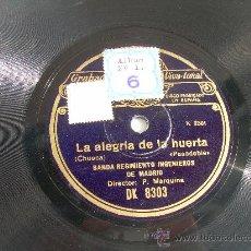 Discos de pizarra: BANDA REGIMIENTO INGENIEROS DE MADRID SAL MOLIA DISCO DE PIZARRA 78 RPM REGAL. Lote 14034191