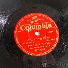 Discos de pizarra: PILARIN ARCOS COIMBRA DISCO DE PIZARRA 78 RPM COLUMBIA. Lote 14034197