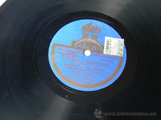 JESUS PEROSANZ GUITARRA: MANOLO EL DE BADAJOZ ODEON LA COPLA ANDALUZA PIZARRA 78 RPM (Música - Discos - Pizarra - Flamenco, Canción española y Cuplé)