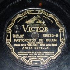Discos de pizarra: DISCO 78 RPM - ANITA SEVILLA - VICTOR - BULERÍAS GITANAS / CANCIÓN DE LA FLORERA SEVILLANA - PIZARRA. Lote 14000837