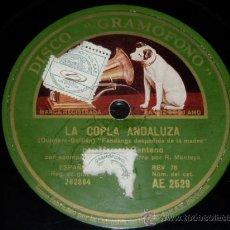DISCO 78 RPM - MANUEL CENTENO - PENA HIJO CON MONTOYA - GUITARRA - GRAMÓFONO - FLAMENCO - PIZARRA