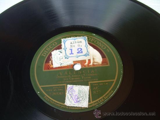 CARMEN FLORES - ¡VALENCIANA! - LA VOZ DE SU AMO - PIZARRA 78 RPM (Música - Discos - Pizarra - Flamenco, Canción española y Cuplé)