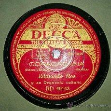 Discos de pizarra: DISCO DE GRAMOFONO: COPACABANA.2.-EL VENDEDOR DE SOMBREROS POR EDMUNDO ROS Y SU OR. Lote 27111824