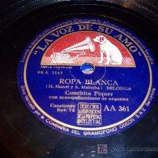 Discos de pizarra: DISCO DE PIZARRA: LA VOZ DE SU AMO. CONCHA PIQUER / ROPA BLANCA / CRÍA CUERVOS. Lote 27278248