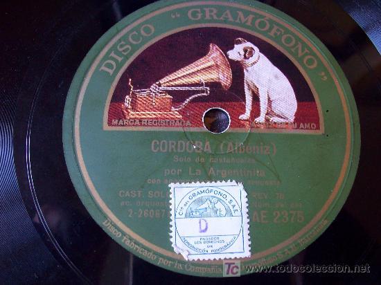 Discos de pizarra: Disco de Pizarra: Sello Voz de su Amo. La Argentinita/ España Cañí /Córdoba - Foto 3 - 24846565