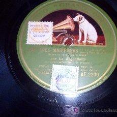 Discos de pizarra: DISCO DE PIZARRA: SELLO VOZ DE SU AMO. LA ARGENTINITA/LAS TRES MARIPOSAS / EL GAUCHO . Lote 26763374