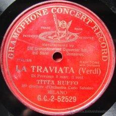 Discos de pizarra: LA TRAVIATA ( DI PROVENZA IL MARE, IL SUOL), POR TITTA RUFFO. GRAMOPHONE CONCERT RECORD. CA 1910.. Lote 26681733