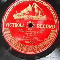 Discos de pizarra: ENRICO CARUSO: FAVORITA. SPIRITO GENTIL (DONIZETTI). VICTROLA RECORD, CA 1905.. Lote 26681734