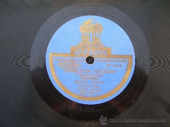 DISCO PIZARRA // BANDA ODEON // CORAZON GITANO (PASODOBLE) (Música - Discos - Pizarra - Flamenco, Canción española y Cuplé)